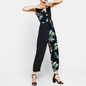 Bershka Floral Contrasting Jump Suit
